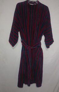 Pierre Cardin Mens Red Blue Striped Bath Robe